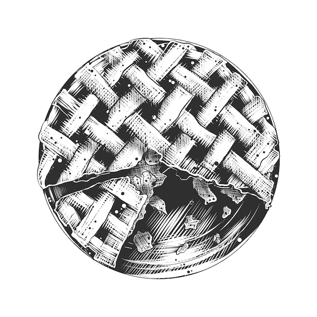 Croquis dessiné main de tarte américaine en monochrome Vecteur Premium