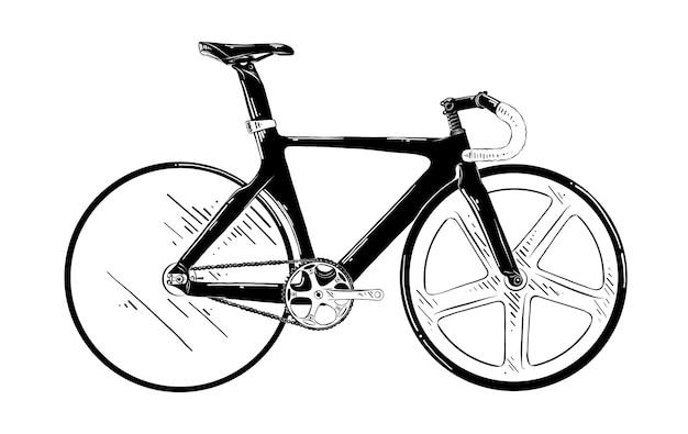 Croquis dessiné main de vélo en noir Vecteur Premium