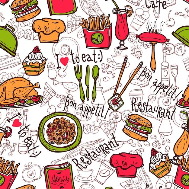 Croquis de doodle de modèle sans couture restaurant symboles Vecteur gratuit