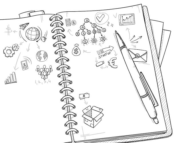 Croquis Du Concept D'entreprise Monochrome Vecteur gratuit