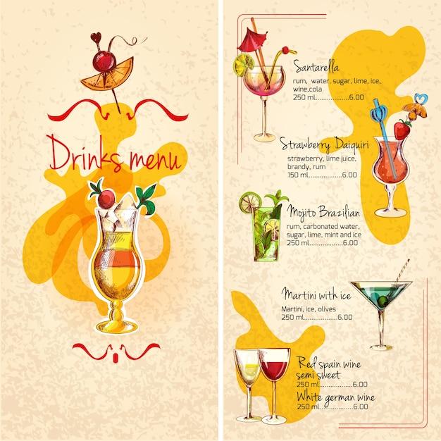 Croquis du menu Bar Vecteur gratuit