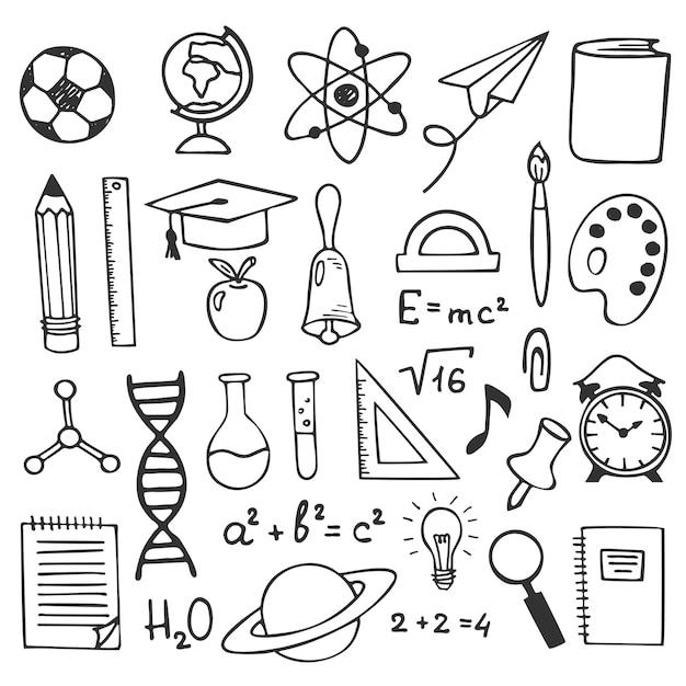 Croquis de l'éducation scolaire dessin icônes. illustration d'éléments d'éducation dessinés à la main Vecteur Premium
