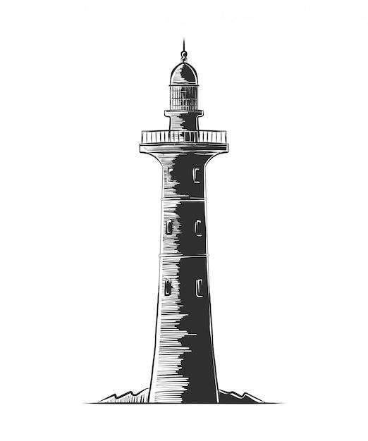 Croquis de gravure dessiné main du phare Vecteur Premium