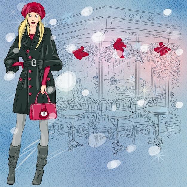 Croquis D'hiver De Noël De La Belle Fille à La Mode Près Du Café Parisien Avec Des Décorations De Noël Vecteur Premium