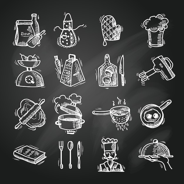 Croquis D'icônes De Cuisine Vecteur gratuit
