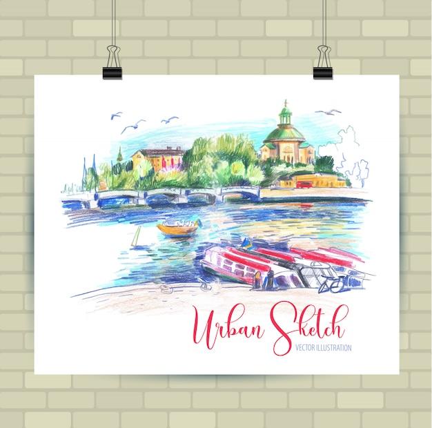 Croquis d'illustration en vecteur. affiche avec beau paysage et bateaux. Vecteur Premium