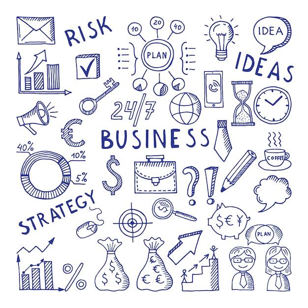 Croquis d'illustrations sur le thème de l'entreprise. Vecteur Premium