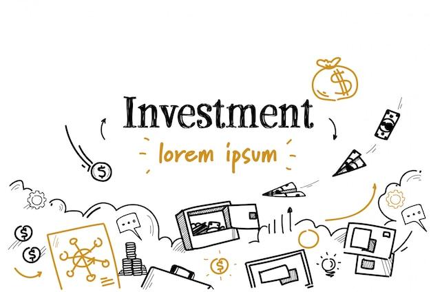 Croquis d'investissement finance entreprise doodle isolé Vecteur Premium