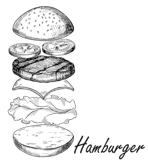 Croquis de main isolé hamburger. burger comprend côtelette, fromage, tomate et salade isolée Vecteur Premium