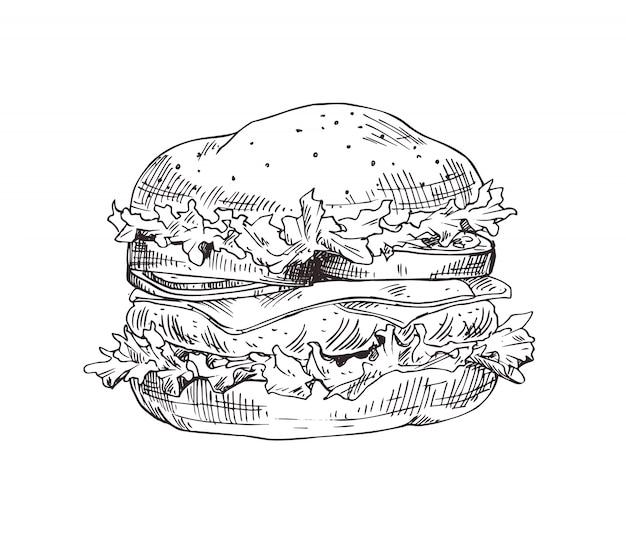 Croquis monochrome de vecteur de hamburger dessiné à la main Vecteur Premium