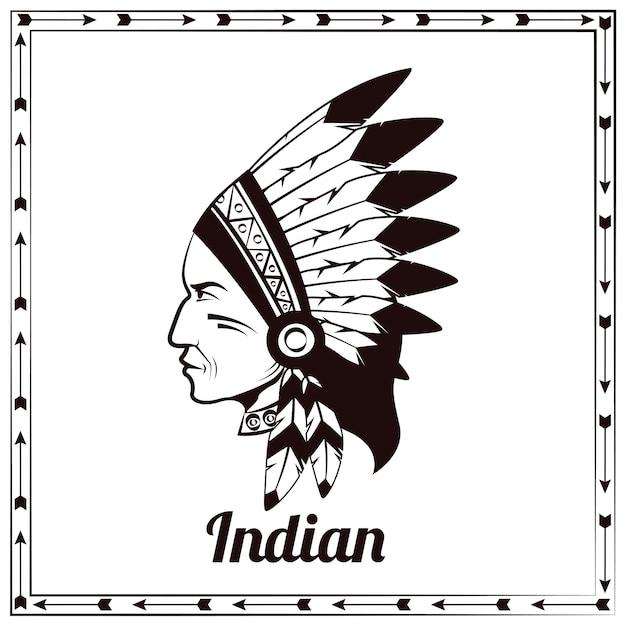 Croquis noir de chef indien américain Vecteur gratuit