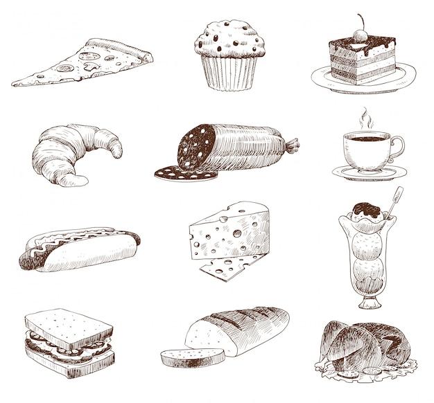 Croquis De Nourriture Dessiné à La Main Et Doodle De Cuisine. Vecteur Premium