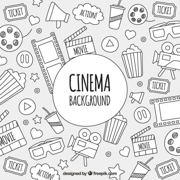 Croquis d'objets de cinéma de fond Vecteur gratuit