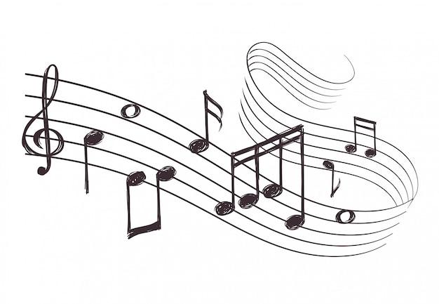 Croquis onde sonore musicale avec des notes de musique. Vecteur Premium