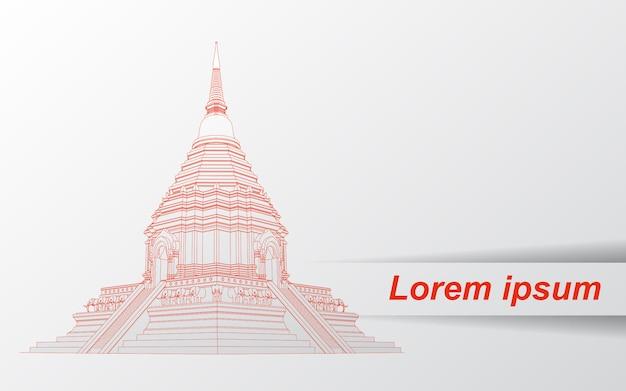 Croquis de la pagode thaïlandaise. Vecteur Premium