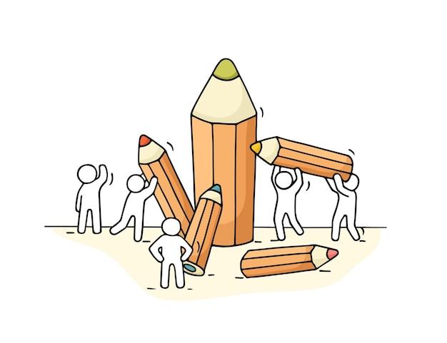 Croquis De Petites Personnes Avec Des Crayons.caricature Dessinée à La Main Pour La Conception D'entreprise Et D'école. Vecteur Premium