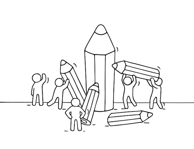 Croquis De Petites Personnes Avec Des Crayons. Doodle Jolie Miniature Avec Des Travailleurs Et De La Papeterie. Dessin Animé Dessiné à La Main Vecteur Premium