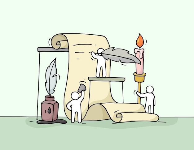 Croquis De Petites Personnes Travaillant Avec Un Document. Doodle Miniature Mignonne De Travail D'équipe. Vecteur Premium