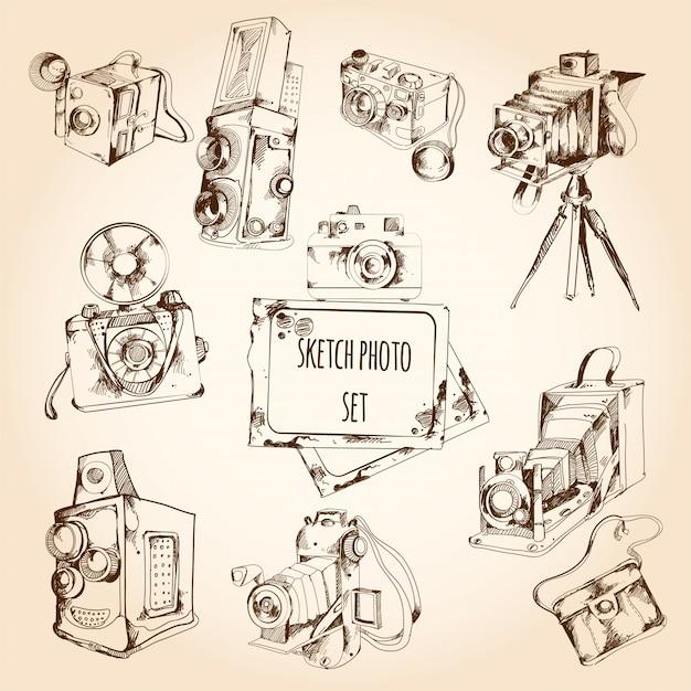 Croquis photo ensemble Vecteur gratuit