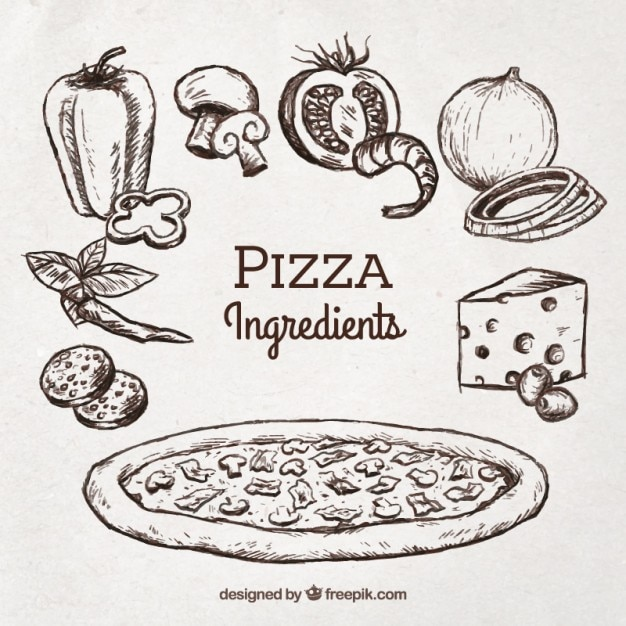 Croquis De Pizza Avec Des Ingrédients Vecteur gratuit