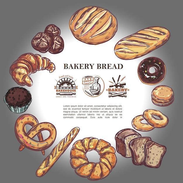 Croquis De Produits De Boulangerie Composition Ronde Avec Pain Baguette Française Croissant Bretzel Muffin Beignet Bagels Et Badges De Boulangerie Vecteur gratuit