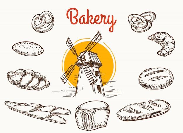 Croquis de produits de boulangerie traditionnelle vintage Vecteur Premium