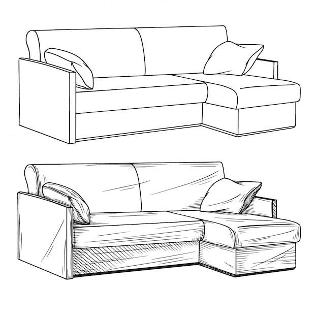 Croquis réaliste de canapés isolé sur fond blanc. Vecteur Premium