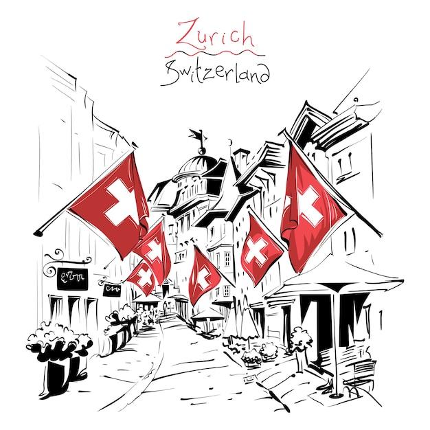 Croquis De La Rue Confortable Avec Des Drapeaux Suisses Dans La Vieille Ville De Zurich, La Plus Grande Ville De Suisse. Vecteur Premium