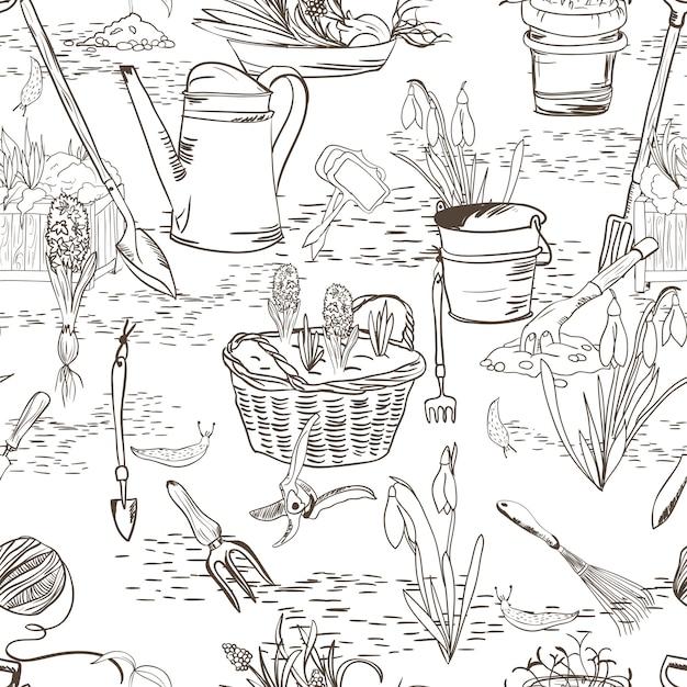 Croquis sans couture avec des outils de jardinage Vecteur gratuit