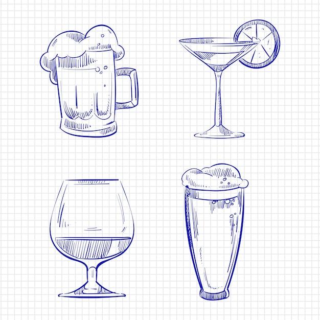 Croquis de stylo à bille boit de l'alcool sur la page de cahier Vecteur Premium