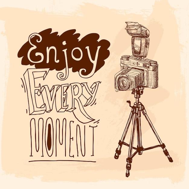 Croquis de trépied d'appareil photo Vecteur gratuit