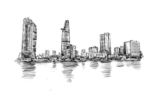 Croquis De La Ville De Ho Chi Minh Skyline Dessiner à La Main Vecteur Premium