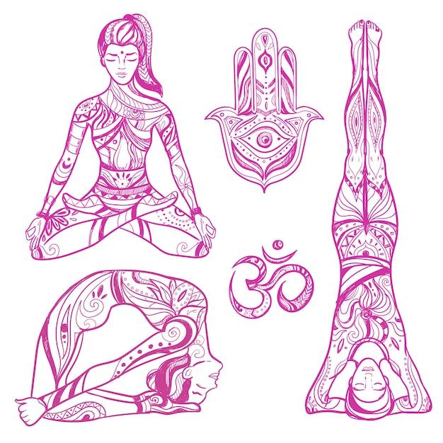 Croquis, Yoga, Femmes, Icône, Ensemble Vecteur gratuit