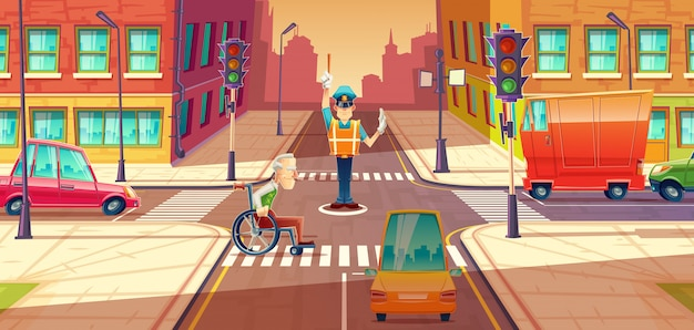 Crossing Guard Réglage Transport En Mouvement, Carrefour De La Ville Avec Piétons Vecteur gratuit