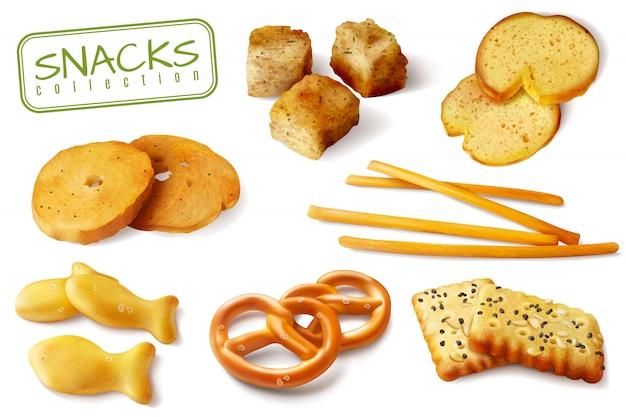 Croutons Crackers Bretzels Biscuits Croustillants Bâtons De Pain Collations Au Four Réalistes Appétissants Closeup S Collection Isolé Vecteur gratuit