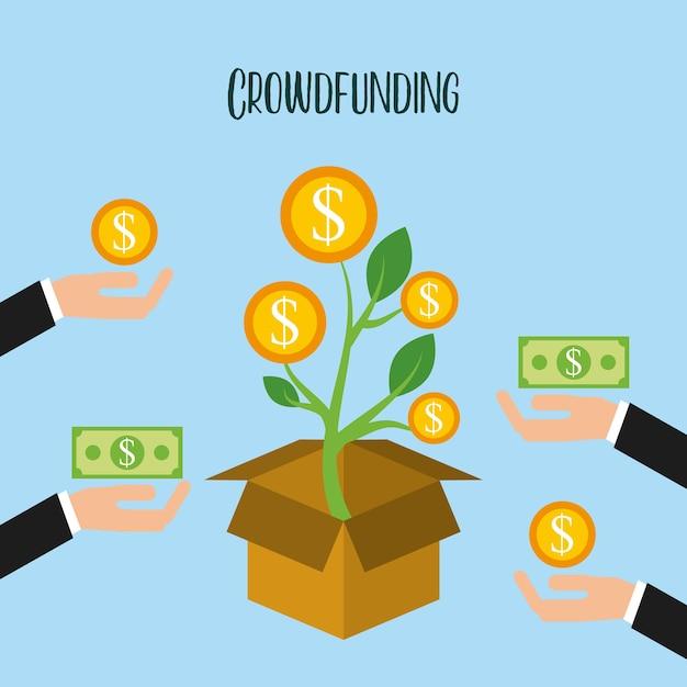 Crowdfunding Croissance Des Pièces De Monnaie Don Bénévole Vecteur Premium