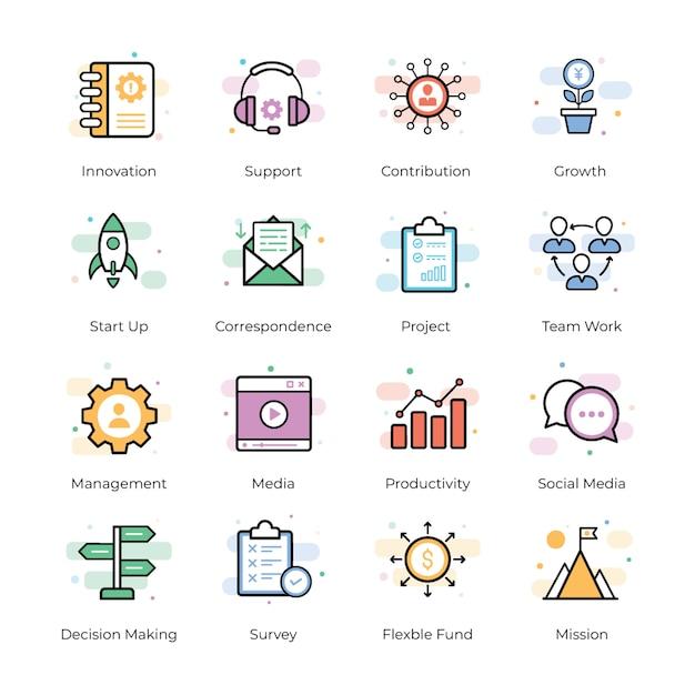 Crowdfunding vector icons pack Vecteur Premium