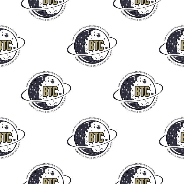 Crypto Btc Sans Couture. Motif Bitcoin Avec Symboles De La Lune. Papier Peint Blockchain Vecteur Premium
