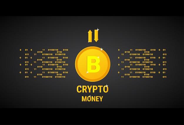 Crypto currency banner concept d'argent web numérique bitcoin d'or Vecteur Premium
