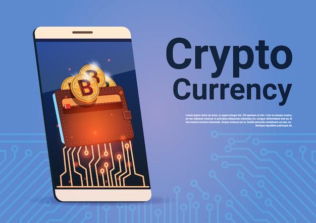 Crypto currency banner smart phone bitcoin portefeuille digital web money concept Vecteur Premium