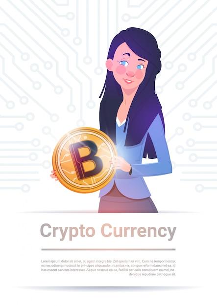Crypto, monnaie, bannière, tenue femme, bitcoin doré, sur, carte mère, circuit, fond, web, numérique Vecteur Premium