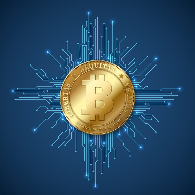 Crypto monnaie bitcoin. concept de vecteur minier net banking et bitcoins Vecteur Premium
