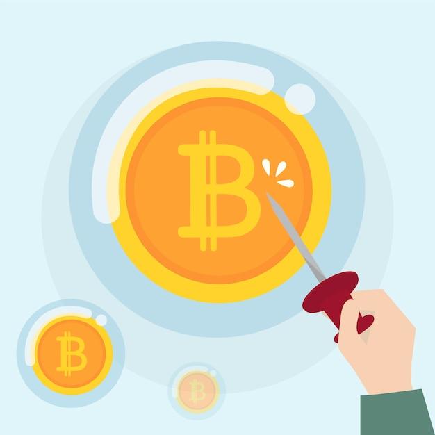 Crypto-monnaie bitcoin dans un état de bulle Vecteur gratuit