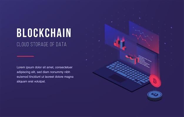 Crypto-monnaie et blockchain Vecteur Premium