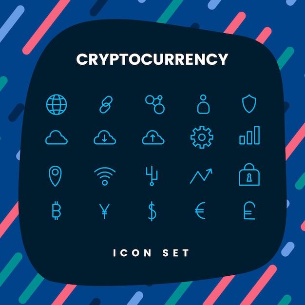 Crypto-monnaie définie vecteur symbole de trésorerie électronique Vecteur gratuit