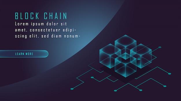 Crypto-monnaie et isométrique blockchain Vecteur Premium