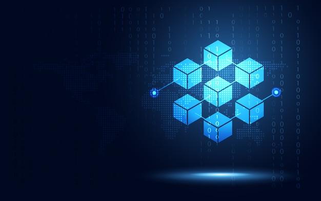Cryptocurrency block chain server abstrait Vecteur Premium