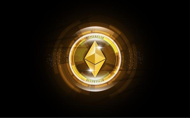 Cryptocurrency blockchain ethereum monnaie numérique Vecteur Premium