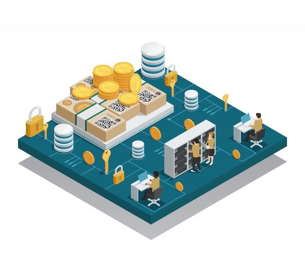 Cryptocurrency Et Composition Isométrique De Blockchain Vecteur gratuit