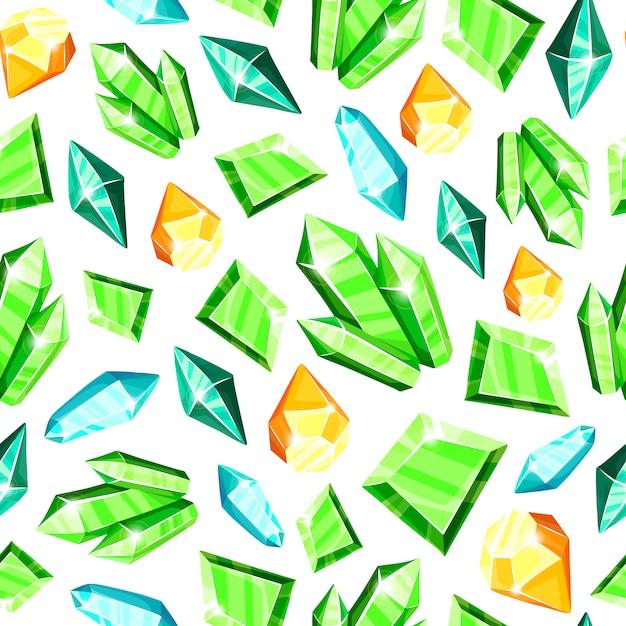 Crystal Seamless Pattern - Coloré Bleu, Or, Rose, Violet, Cristaux Arc-en-ciel Ou Pierres Précieuses Sur Fond Blanc, Vecteur Premium